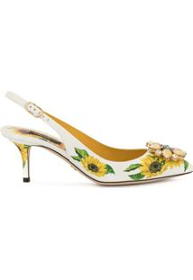 Dolce & Gabbana Sapato Com Estampa De Girassol - Branco