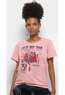 Camiseta Colcci Estampa Urbana Feminina - Feminino-Rosa