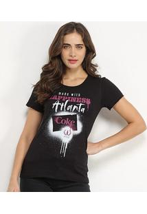 Camiseta Coca-Cola Made With Hapiness Atlanta Feminina - Feminino-Preto