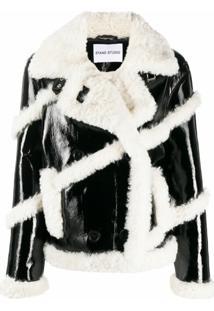 Stand Studio Melendy Faux-Fur Stripe Jacket - Preto