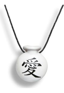 Colar Aromatizador Difusor Pessoal Cantil Símbolo Japonês Amor Branco Ortega