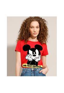 Camiseta De Algodão Mickey Flocada Manga Curta Decote Redondo Vermelha