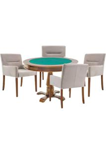 Mesa De Jogos Carteado Victoria Redonda Tampo Reversível Amêndoa Com 4 Cadeiras Vicenza Nude - Gran Belo