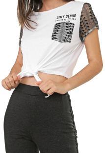 Camiseta Cropped Dimy Renda Amarração Branca