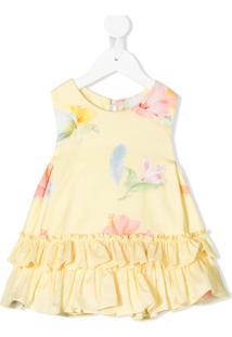 Lapin House Vestido Com Estampa Floral E Babados - Amarelo