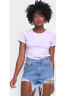 Camiseta Hering Básica Feminina - Feminino-Roxo