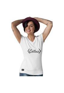 Camiseta Feminina Gola V Cellos Retro Premium W Branco