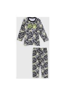 Pijama Elian Longo Infantil Dinossauro Cinza/Verde