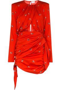 Magda Butrym Vestido San Remo Com Estampa Floral De Seda E Stretch - Vermelho