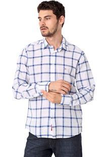 Camisa Aramis Slim Quadriculada Branca/Azul