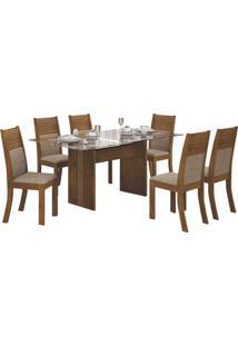Mesa De Jantar Havaí 160Cm Tampo De Vidro Com 6 Cadeiras Canela / Linho Bege