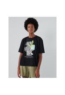 Amaro Feminino T-Shirt Oversized Tropical Poster Preto, Preto