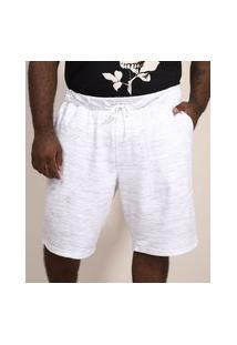 Bermuda De Moletom Masculina Plus Size Relaxed Com Cordão E Bolsos Branca