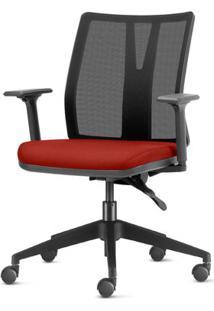 Cadeira Addit Assento Crepe Vermelho Bordo Com Base Piramidal Em Nylon - 54114 Sun House