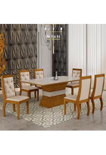 Mesa De Jantar Agata 1,80M Com Vidro Offwhite + 6 Cadeiras Turim 07 - 100% Mdf - Imbuia Com Offwhite