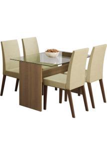Conjunto De Mesa Com 4 Cadeiras Melrose Rustic E Saara