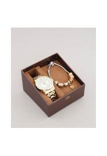Kit De Relógio Analógico Mondaine Feminino + Pulseira - 99126Lpmvde1Kb Dourado