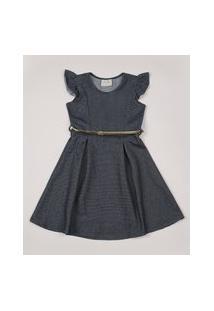 Vestido Infantil Estampado Listrado Com Cinto E Babados Sem Manga Azul Marinho