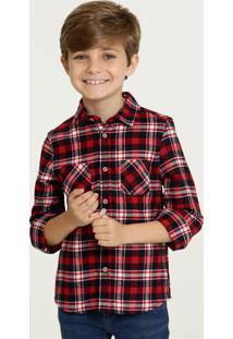 Camisa Infantil Estampa Xadrez Manga Longa Mr