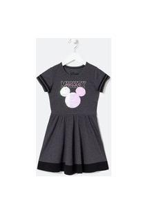 Vestido Infantil Estampa Mickey Em Paetês - Tam 5 A 14 Anos | Mickey Mouse | Cinza | 9-10