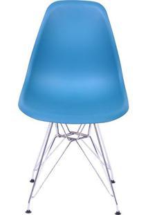 Cadeira Eames Dkr- Azul Petróleo & Prateada- 80,5X46Or Design