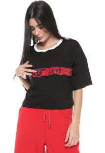 Camiseta Cropped My Favorite Thing(S) Love Paetê Preta