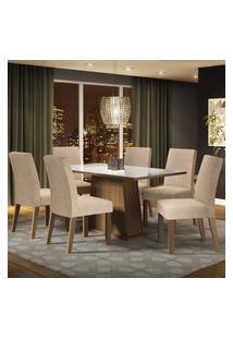 Conjunto Sala De Jantar Madesa Patricia Mesa Tampo De Vidro Com 6 Cadeiras Rustic/Branco/Imperial Rustic