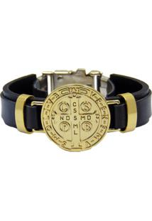 Bracelete Couro Lua Nova Religião Preto