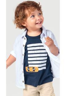 Camisa Em Tecido De Algodão Bebê Menino Com Botões Contrastantes Hering Kids