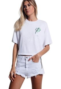 Camiseta John John Luck Malha Off White Feminina (Off White, G)