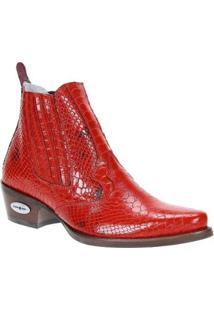 Bota Couro Texana Cow Way Masculina - Masculino-Vermelho