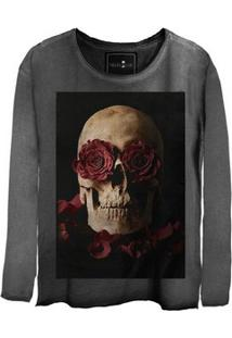 Camiseta Estonada Gola Canoa Manga Longa Skull Roses