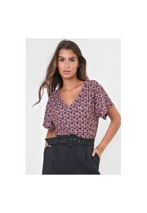 Camiseta Lança Perfume Geométrica Rosa/Verde