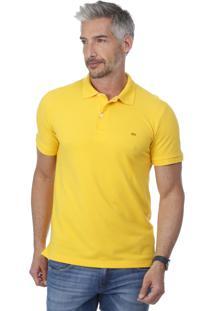 Camisa Pólo Amarela Com Fendas masculina  54c020438ad8e