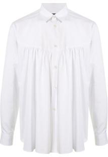 Comme Des Garçons Homme Plus Camisa Franzida Com Abotoamento - Branco