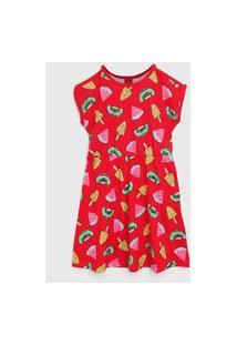 Vestido Kyly Infantil Frutas Vermelha