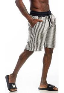 Bermuda Cia Gota Moletom Listrada Masculina - Masculino-Branco