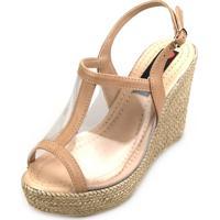 8a20da15a3 Sandália Anabela Love Shoes Alta Vinil Transparente Nude