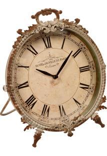 Relógio De Mesa Decorativo Reichenau De Metal Envelhecido