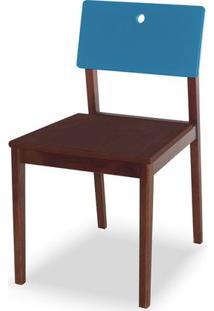 Cadeira Flip Cor Cacau Com Encosto Azul - 31126 Sun House