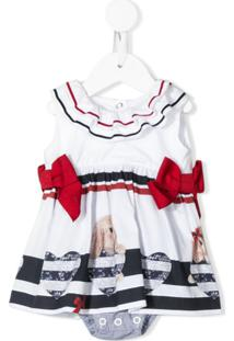 Lapin House Vestido Com Babados E Detalhe De Laço - Branco