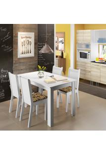 Conjunto De Mesa De Jantar Com 4 Cadeiras Rosie L Linho Branco E Bege