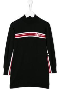Gcds Kids Vestido Suéter Com Logo - Preto