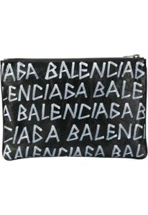 Balenciaga Clutch 'Carry Clip M' De Couro - Preto