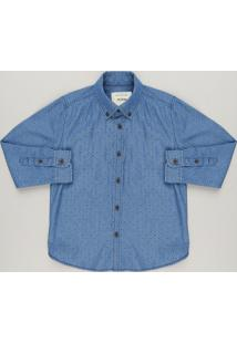 Camisa Jeans Infantil Estampada Manga Longa Azul Médio