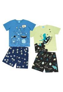Kit 2 Pijamas Bebê Menino Que Brilha No Escuro Algodão Kamylus 12191/12190 Verde