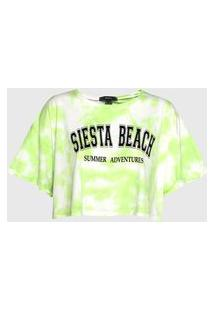 Camiseta Cropped Forever 21 Tie Dye Verde/Branca