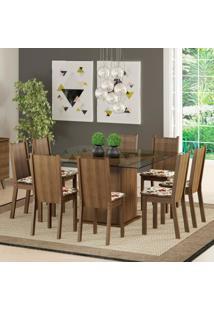 Conjunto Sala De Jantar Madesa Camila Mesa Tampo De Vidro Com 8 Cadeiras Marrom - Marrom - Dafiti