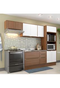 Cozinha Compacta Calábria 9 Portas 3 Gavetas Nogueira/Branco - Multimóveis
