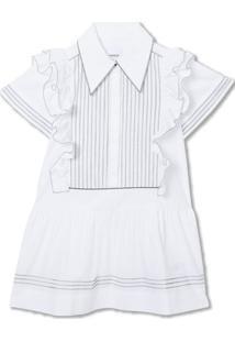 Burberry Kids Vestido De Algodão Com Detalhe De Babados - Branco
